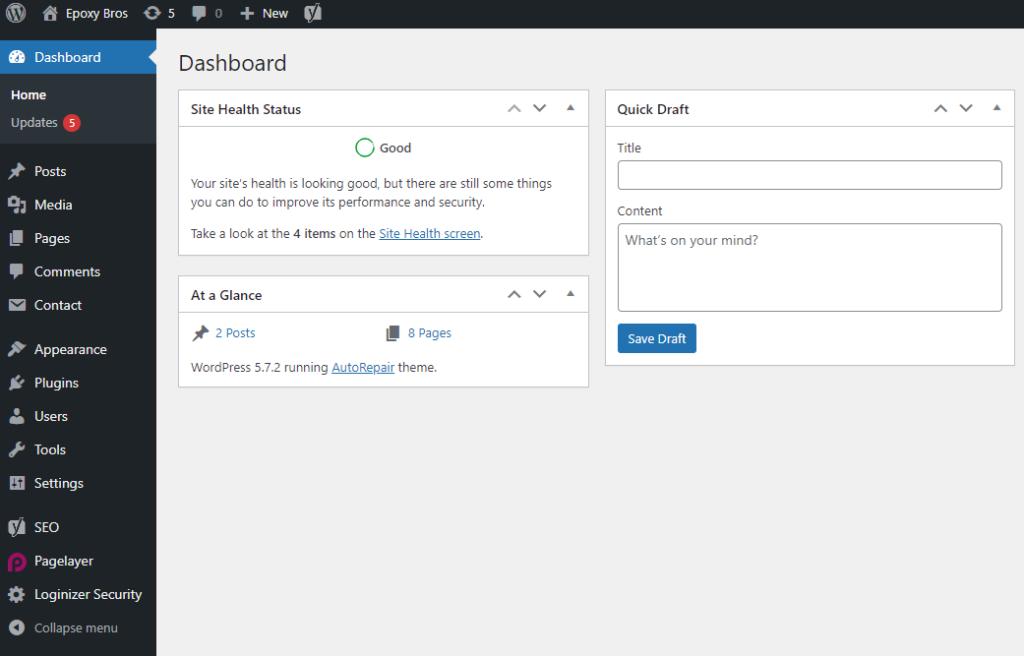WordPress Hosting Dashboard